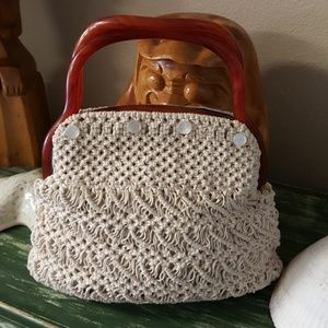 Vintage 1960's Crocheted bag w/Lucite Handles
